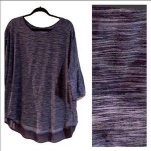 HYBA (XXL) soft relaxing blue casual top w/ mesh